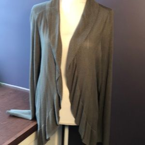 Chico's Olive Green Open Rayon Cardigan
